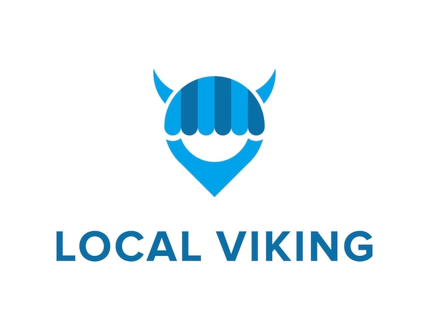 Hoofd viking met pin locatie en winkel winkel symbolen eenvoudige slanke moderne logo ontwerp vector sjabloon