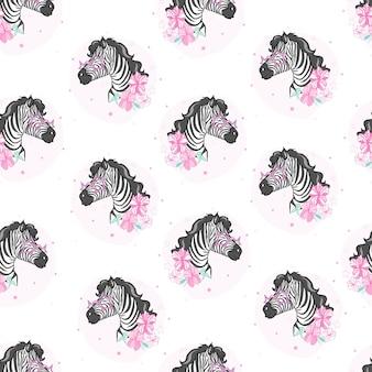 Hoofd zebra naadloos patroon