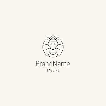 Hoofdaap-logo met logo-sjabloon in vlakke stijl