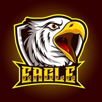 Hoofdadelaar boze mascotte voor sport en esports logo vectorillustratie