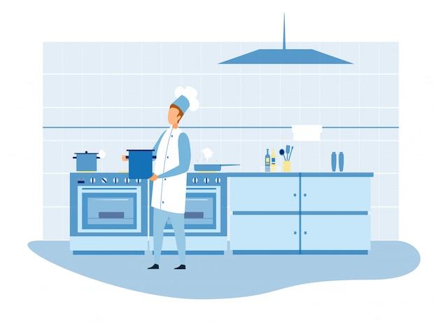 Hoofdchef-kok die voedsel in keukenillustratie voorbereiden