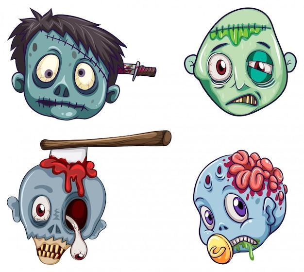 Hoofden van de zombies