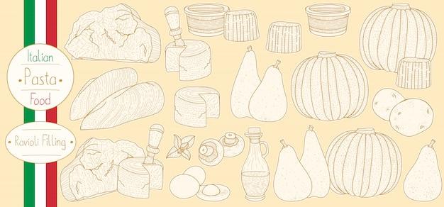 Hoofdingrediënten voor gevulde pastavulling voor het bereiden van italiaans eten ravioli