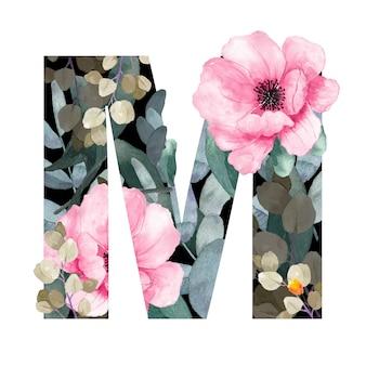Hoofdletter m floral stijl. met bloemen en bladeren van planten.
