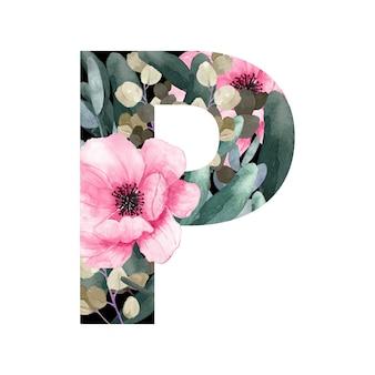 Hoofdletter p floral stijl met bloemen en bladeren van planten