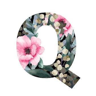 Hoofdletter q floral stijl met bloemen en bladeren van planten