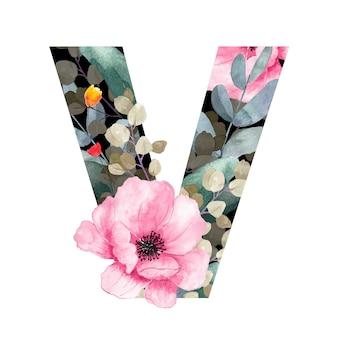 Hoofdletter v floral stijl met bloemen en bladeren van planten