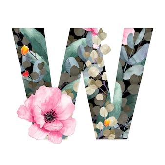 Hoofdletter w floral stijl met bloemen en bladeren van planten