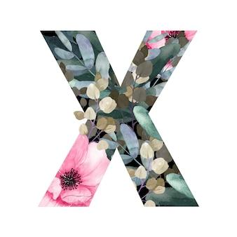 Hoofdletter x floral stijl met bloemen en bladeren van planten