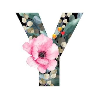 Hoofdletter y floral stijl met bloemen en bladeren van planten