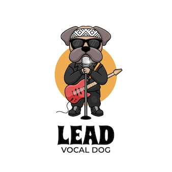 Hoofdstem hond muziek cartoon karakter illustratie creatief logo