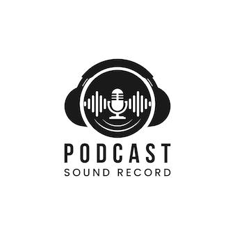 Hoofdtelefoon-dj, vinyl music studio-opname, logo-ontwerp met geluidsgolf