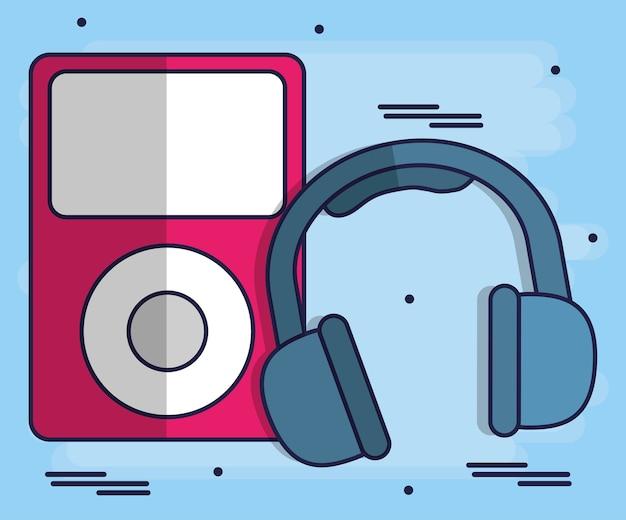 Hoofdtelefoon en muziek speler pictogram