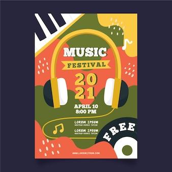 Hoofdtelefoon muziek evenement poster sjabloon