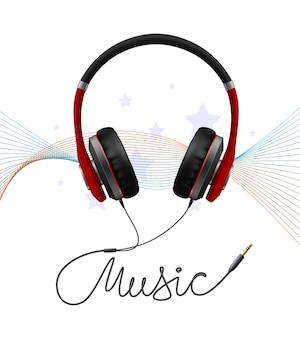 Hoofdtelefoon oortelefoon realistische compositie
