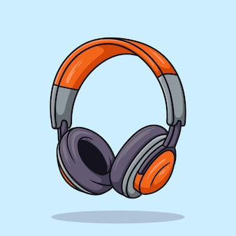 Hoofdtelefoon oranje cartoon pictogram vector