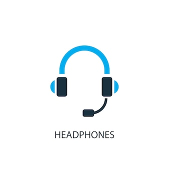 Hoofdtelefoon pictogram. logo-element illustratie. hoofdtelefoon symbool ontwerp uit 2 gekleurde collectie. eenvoudig hoofdtelefoonconcept. kan worden gebruikt in web en mobiel.