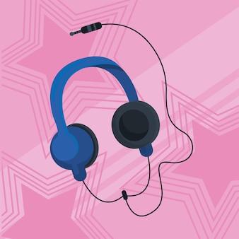 Hoofdtelefoon roze poster