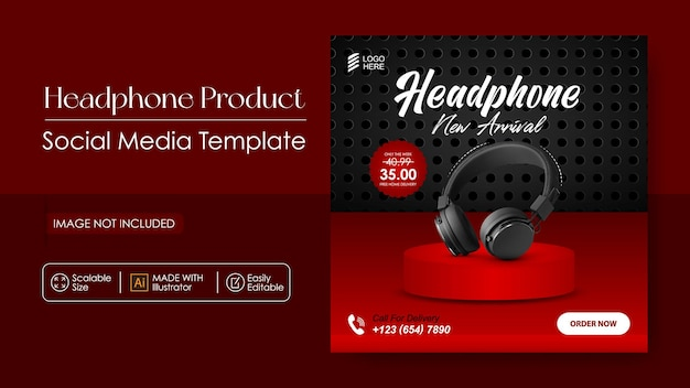Hoofdtelefoonproduct sociale media promotie en banner post-sjabloon