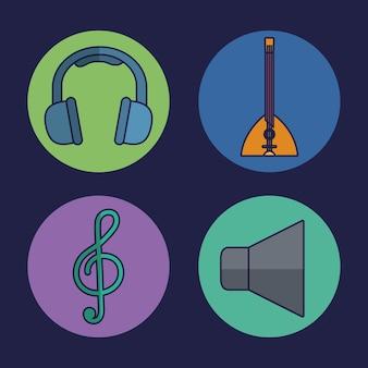 Hoofdtelefoons en muziek gerelateerde pictogrammen