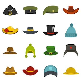 Hoofdtooi hoed pictogrammen instellen in vlakke stijl