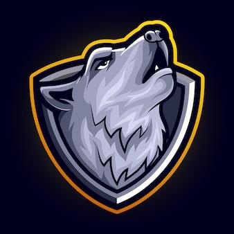 Hoofdwolf boze dierlijke mascotte voor sport en esports logo vectorillustratie