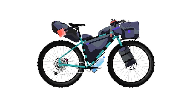Hoog gedetailleerd vector bikepacking-voorbeeld voor fietstochten