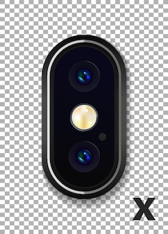 Hoog gedetailleerde realistische dubbele camera op de smartphone. vector illustratie.