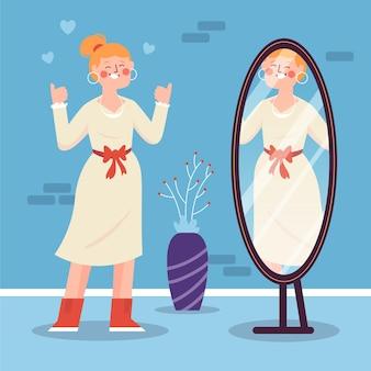 Hoog zelfbeeld bij vrouw en spiegel