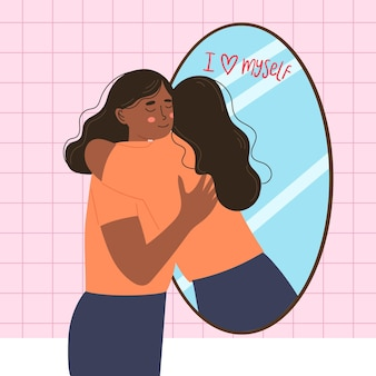 Hoog zelfbeeld bij vrouw en spiegel Gratis Vector