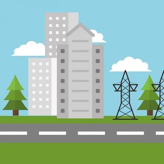 Hoogspanning elektriciteitsstad