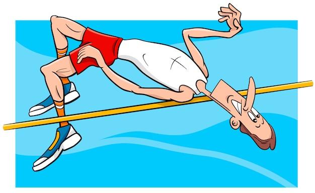 Hoogspringen sportman cartoon