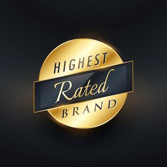 Hoogst gewaardeerde merk gouden etiket of badge vector ontwerp