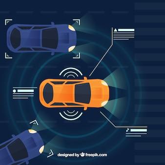 Hoogste mening van futuristische autonome auto met vlak ontwerp Gratis Vector