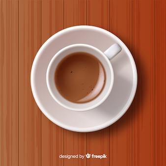 Hoogste mening van koffiekop met realistisch ontwerp