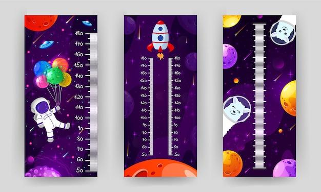 Hoogte grafiek voor kinderen. kosmische muurmeter met vliegende astronaut, raket en fantasieplaneten.