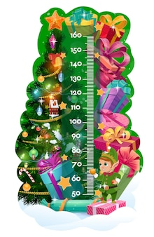 Hoogtemeter voor kinderen, kerstboom, geschenken en schattige elf. vector kinderen stadiometer of groei maatregel meter met cartoon achtergrond van kerstboom, huidige dozen, lint bogen en sterren met liniaal schaal