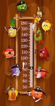 Hoogtemeter voor kinderen, piraten en corsairvruchten, vectortekenfilmgroeimeter. kinderhoogtemeter of meetschaal, grappige fruitpiraten sinaasappel en appel met sabel, peer en ananas, banaan en pruim