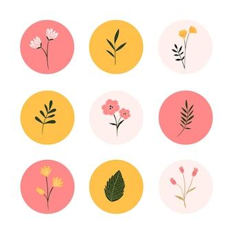 Hoogtepunten van instagram handgetekende bloemenverhalen