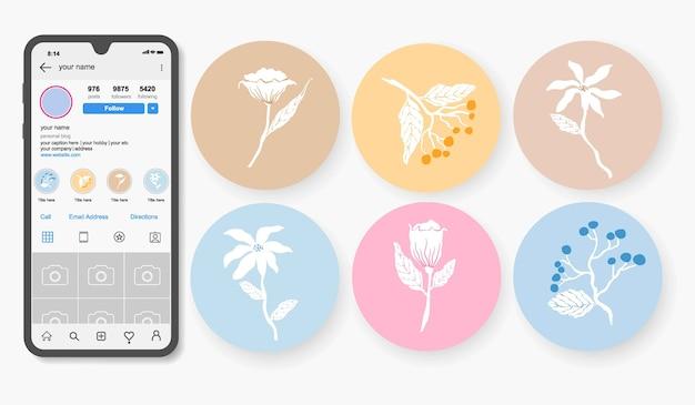 Hoogtepunten van instagram handgetekende bloemenverhalen.