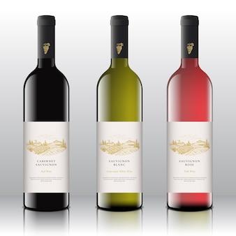 Hoogwaardige rode witte en roze wijnetiketten op de realistische vectorflessen met de hand getekende druiven...