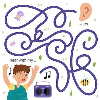 Hoor ik met mijn oren. grappig doolhofspel voor kinderen. werkblad vijf zintuigen leren. zoek de juiste wegpuzzel. vector illustratie