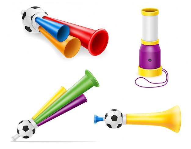 Hoorn attributen voetbal voetbal en sport fans illustratie