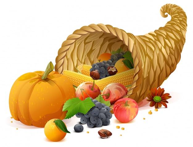 Hoorn des overvloeds rijke oogst op de dag van thanksgiving