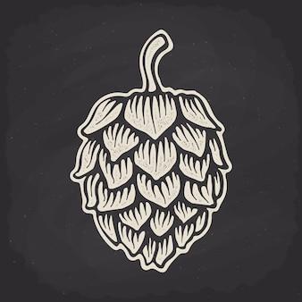 Hop kegel silhouet op krijtbord vector illustratie biercafé en alcoholische drank symbool