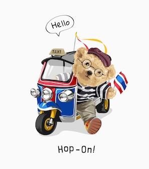 Hop op slogan met berenpop in tuk tuk thai-voertuigillustratie