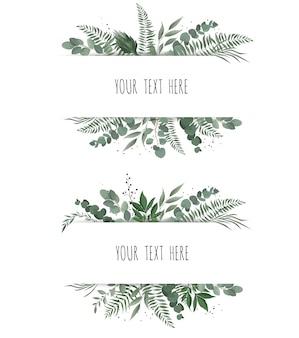 Horisontal botanische vector ontwerpbanner.
