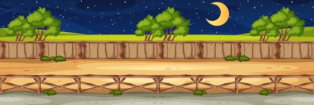 Horizon natuurscène of landschapslandschap met boszicht en maan aan de hemel 's nachts