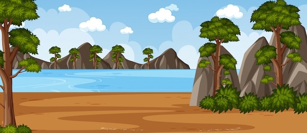 Horizon natuurscène of landschapslandschap met strand zijaanzicht en lege hemel overdag