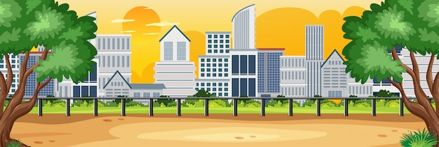 Horizon natuurscène of landschapslandschap met uitzicht op de stad en gele zonsonderganghemel